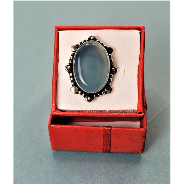 3) CHALCEDONY SILVER PLATED SIZE 8 RING