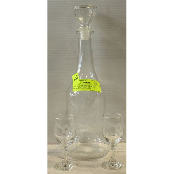 3 PC VINTAGE ETCHED GLASS DECANTER AND GLASS