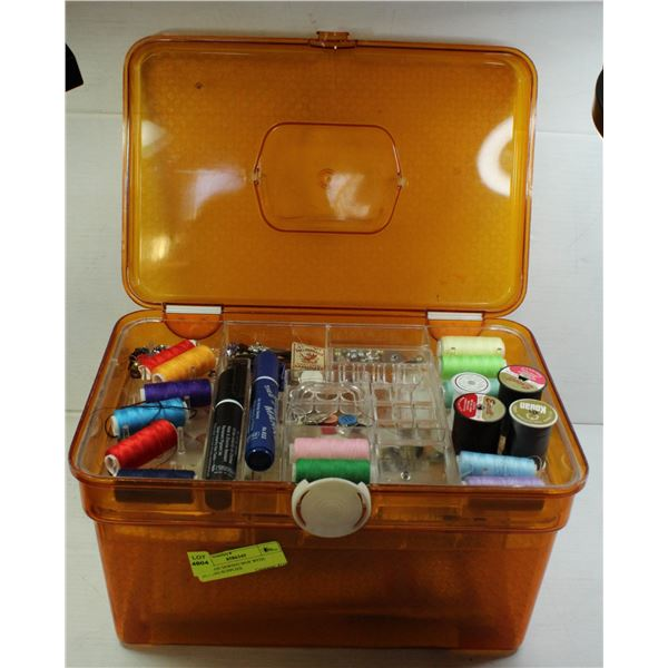 VINTAGE SEWING BOX WITH SEWING SUPPLIES
