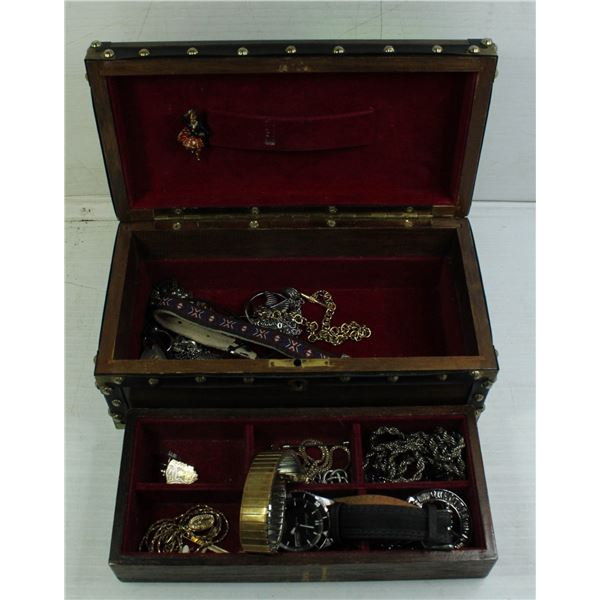 MENS JEWELRY BOX WITH JEWELRY & WATCHES