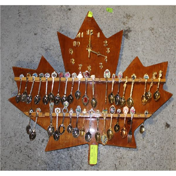 SPOON COLLECTION ON WOODEN MAPLE LEAF CLOCK