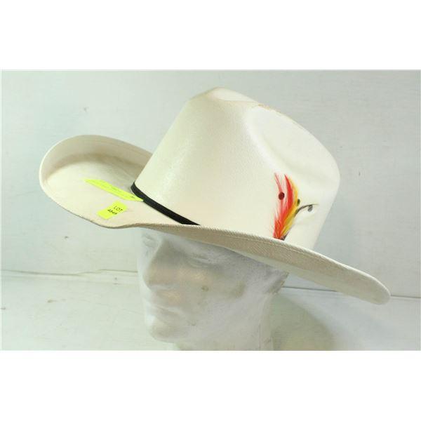 WHITE COWBOY HAT SIZE 59 CM 7 3/8