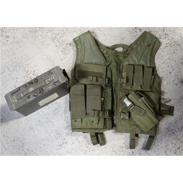 TACTICAL ARMY VEST WITH AMMO METAL BOX