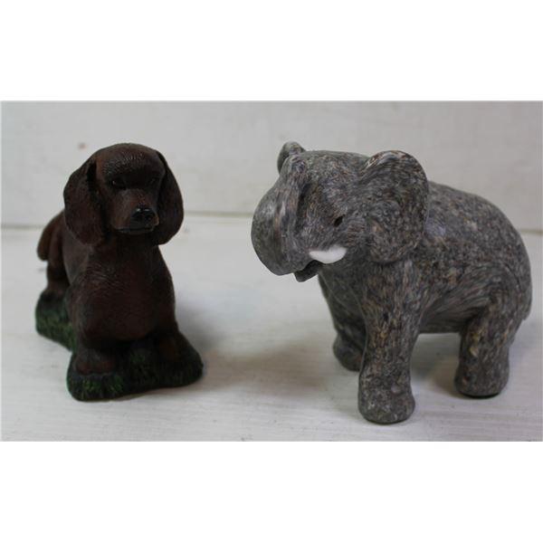 ELEPHANT + DOG CANDLE PAIR HANDMADE