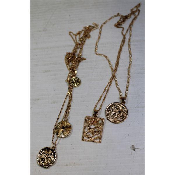 BOX OF GOLD TONE DRAGON & COIN NECKLACES