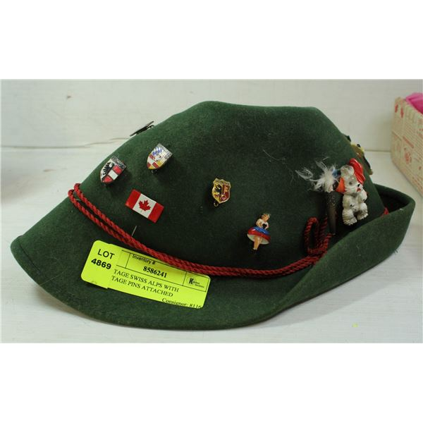 VINTAGE SWISS ALPS WITH VINTAGE PINS ATTACHED