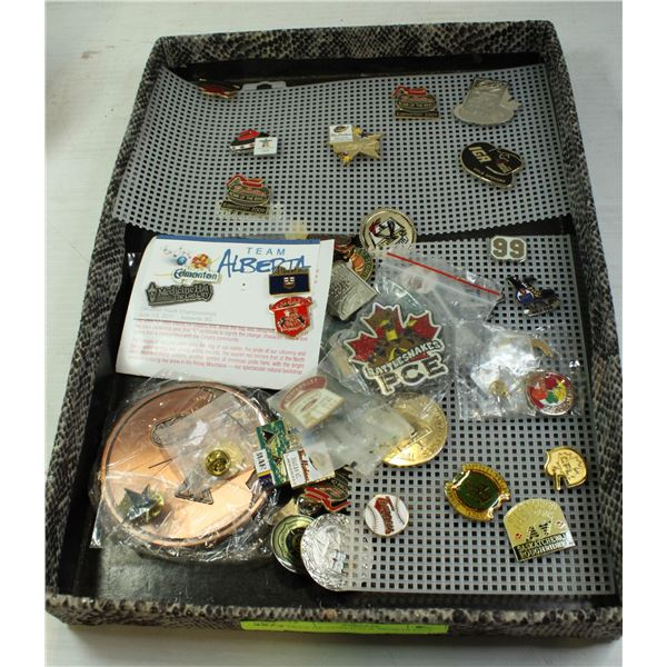 TRAY OF CURLING & SPORTS PINS
