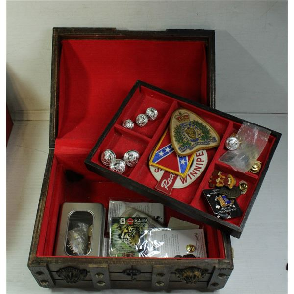 VTG WOODEN BOX W/ EDMONTON POLICE BUTTONS, PATCHES