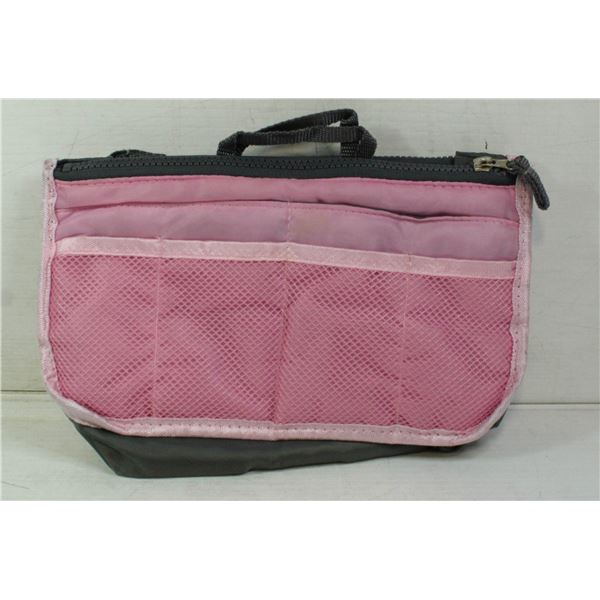 PINK LADIES' PURSE AND ONE BOX PHONE CHARGERS