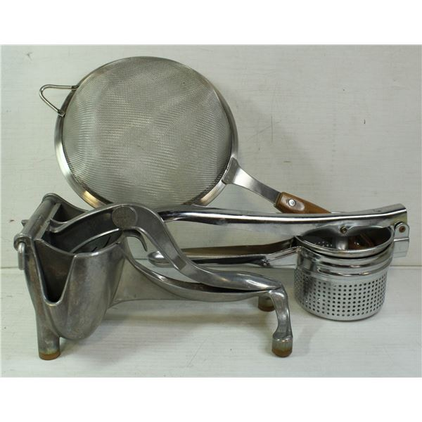 ANTIQUE JUICER, POTATO MASHER AND SIFTER