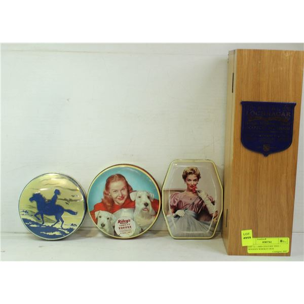 LOT OF 3 MID CENTURY TINS + WOODEN WHISKEY BOX