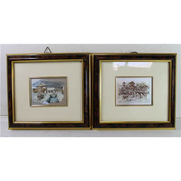 """PAIR OF FRAMED ART PIECES APPROX 5"""" X 6"""""""
