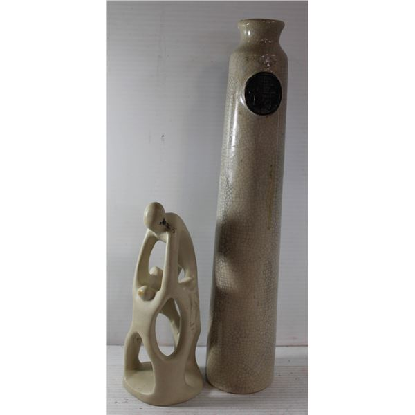 JAPANESE VASE AND SCULPTURE