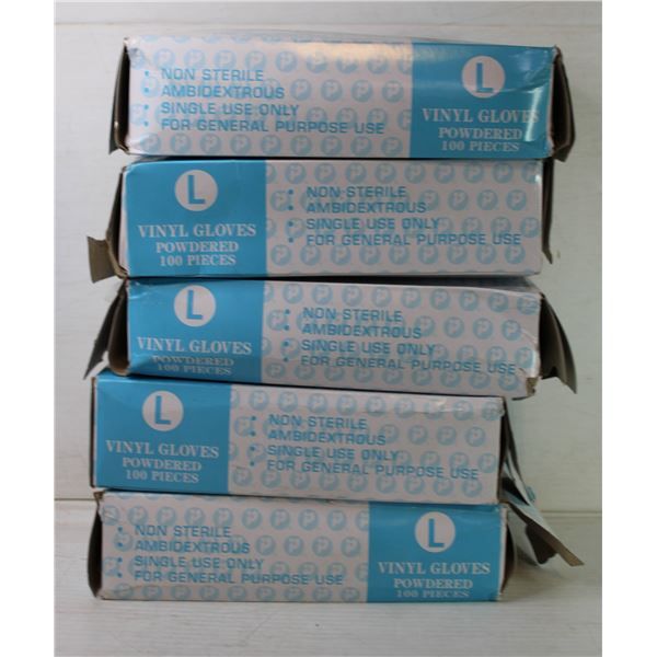 5 BOXES OF SIZE LARGE DISPOSABLE GLOVES