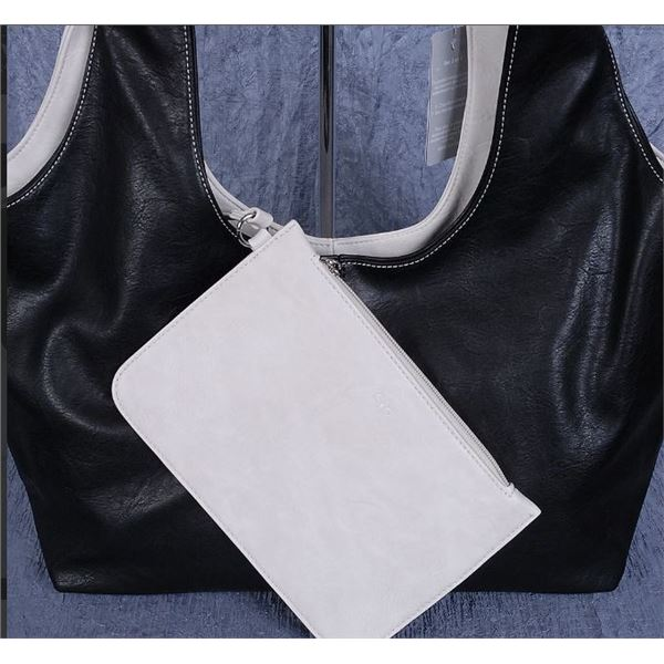 NEW TWO TONE BLACK & WHITE LADIES PURSE WITH