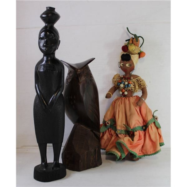 HAND CARVED OWL + AFRICAN STATUE + HAND MADE DOLL