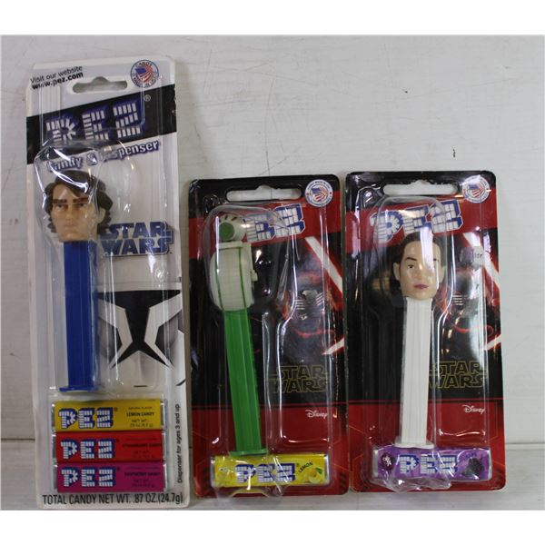 LOT OF 3 ASSORTED UNOPENED PEZ CANDY DISPENSERS
