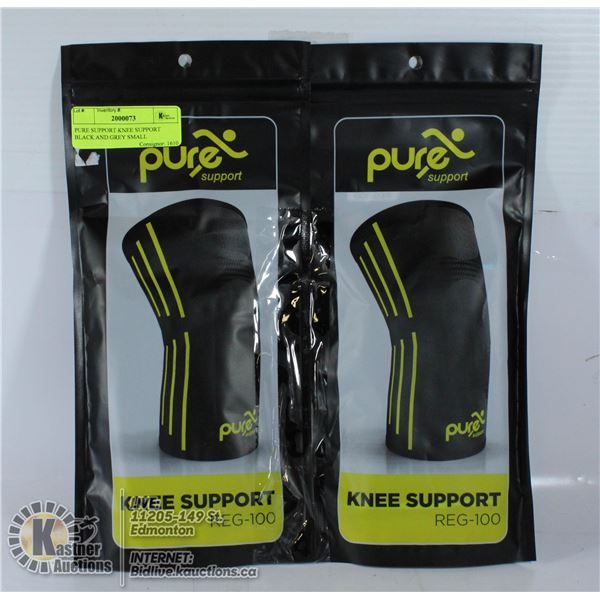 PURE SUPPORT KNEE SUPPORT BLACK AND GREY SMALL