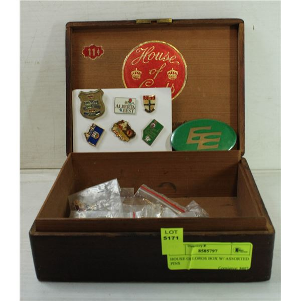 HOUSE OF LOROS BOX W/ ASSORTED PINS