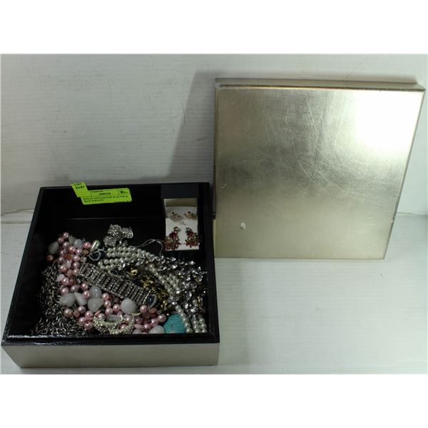 BOX OF VINTAGE PINK & SILVER & BLUE JEWELRY