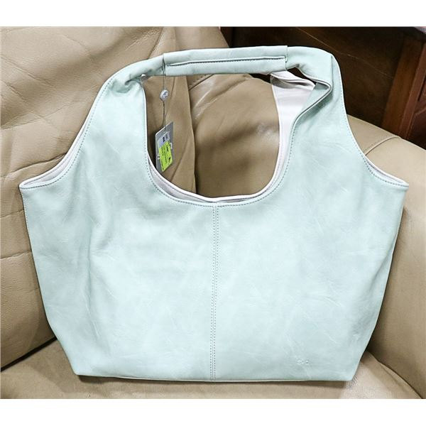 NEW TWO TONE GREEN & WHITE LADIES PURSE WITH