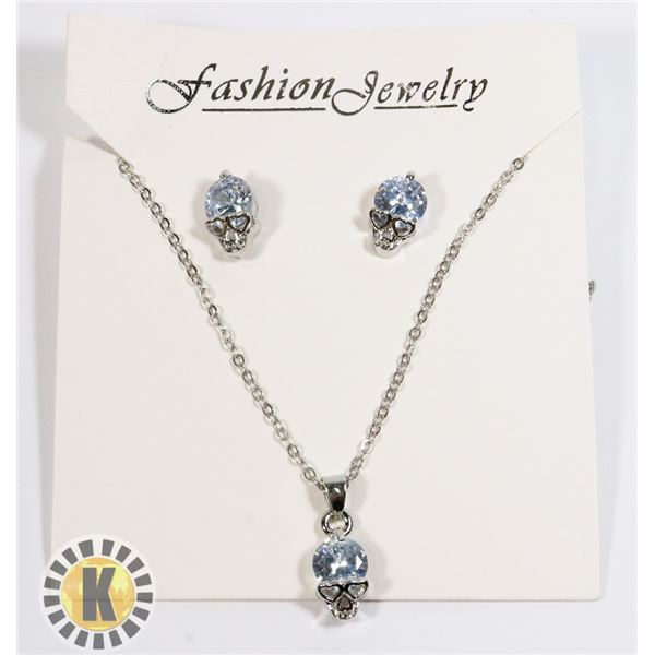 NEW CRYSTAL SKULL THEME EARRING AND NECKLACE