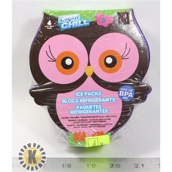 NEW OWL SHAPED ICE PACKS 4PC