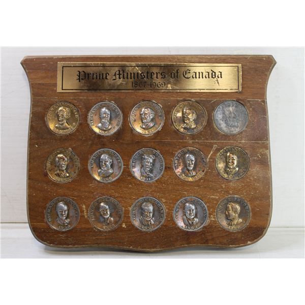 PRIME MINISTERS OF CANADA WOODEN PLAQUE 1867-1969