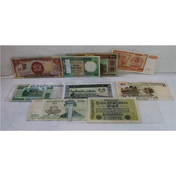 LOT OF 9 ASSORTED FOREIGN BILLS