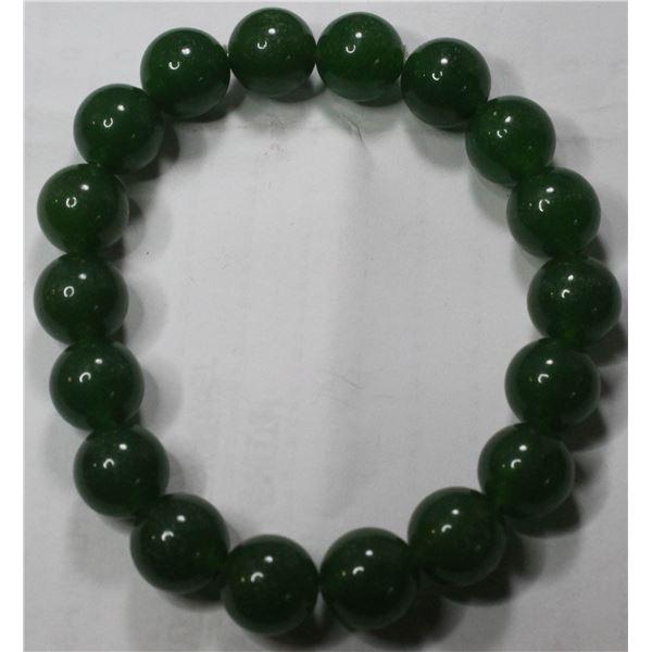 #37-GREEN JADE BEAD BRACELET 10mm