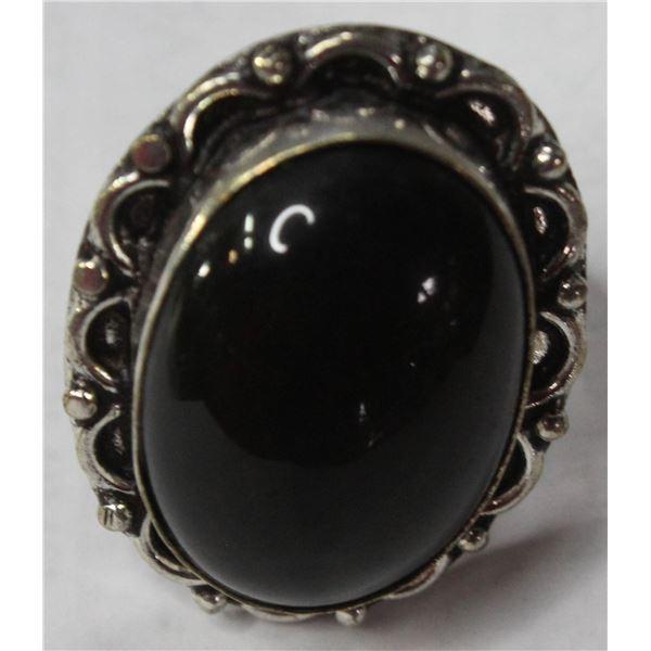 #124-NATURAL BLACK OBSIDIAN RING SIZE 6.5