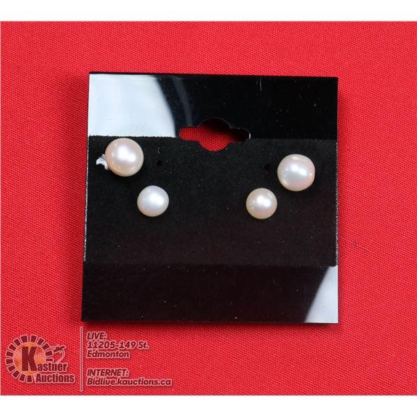 #101-FRESH WATER PEARL STUD EARRINGS 7.5mm-6.4mm