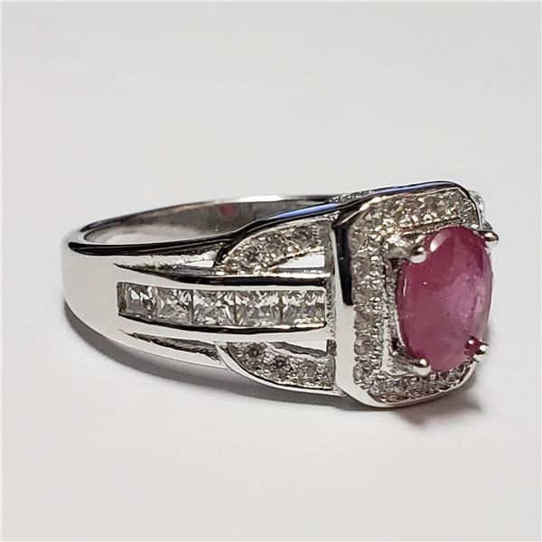 189) SILVER RUBY RING, SIZE 7
