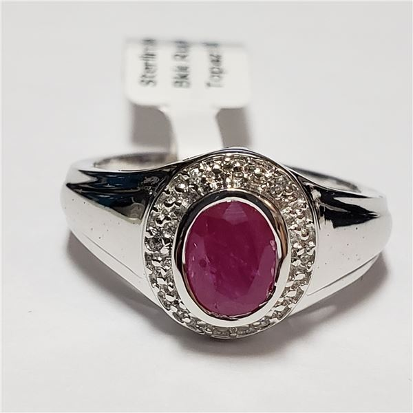 192) SILVER WHITE TOPAZ RUBY(0.9CT) RING, SIZE 9