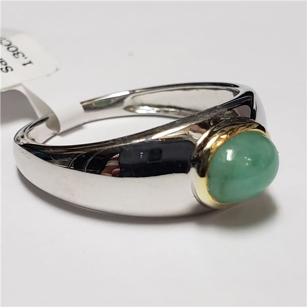 174) SILVER EMERALD(1.3CT) RING, SIZE 10.5