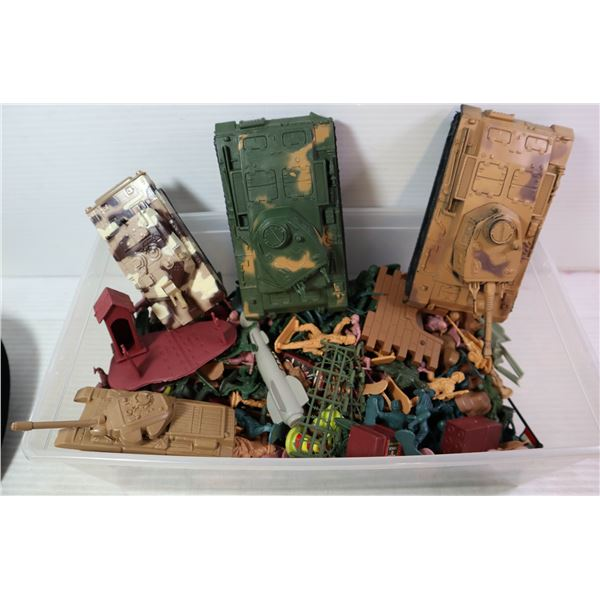 BIN OF ARMY FIGURES AND TANKS