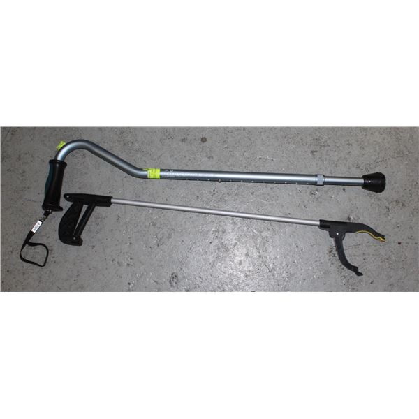 ADJUSTABLE CANE AND GRABBER TOOL