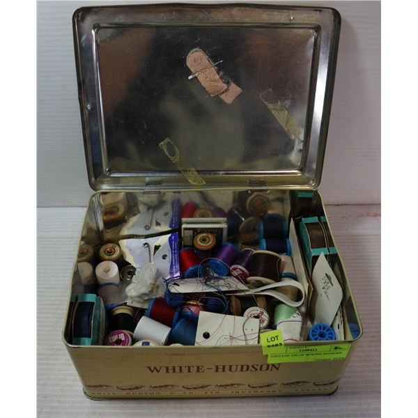 VINTAGE TIN OF SEWING NOTIONS