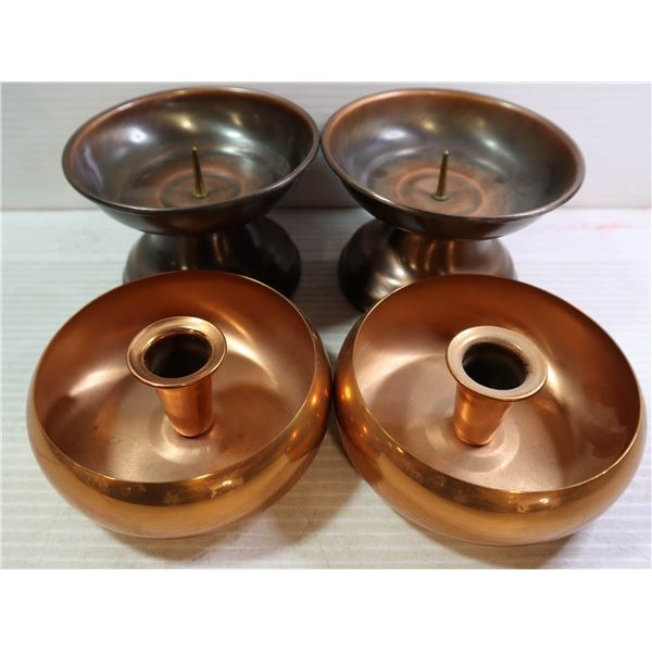 2 PAIR MID CENTURY COPPERCRAFT & BRONZED CANDLE