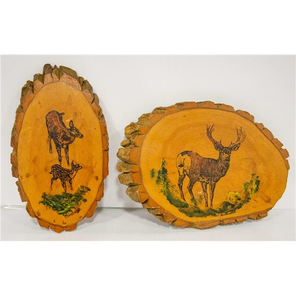 PAIR OF LARGE INDIAN IN BARK WALL DCOR