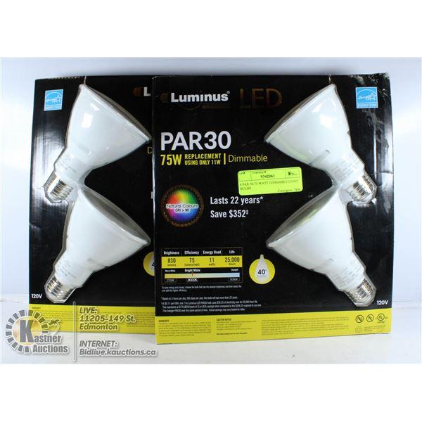 LOT OF 4 PAR 30-75 WATT DIMMABLE LIGHT BULBS