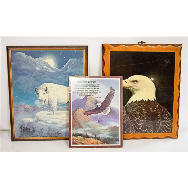 BOX OF WOODEN PICTURES