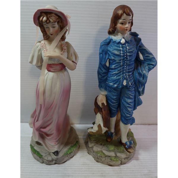 "BOY BLUE & GIRL IN PINK STATUES 12"" CERAMIC"