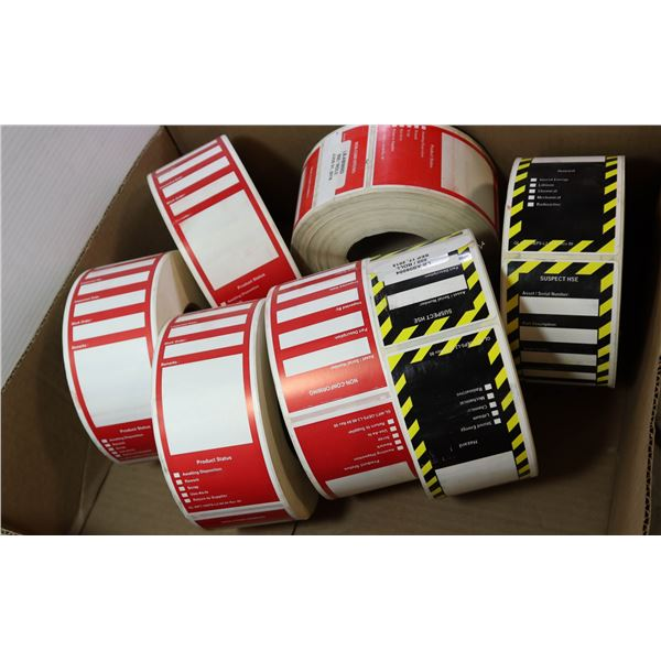 LOT OF ROLLS; EQUIPMENT STICKERS - NON CONFIRM &