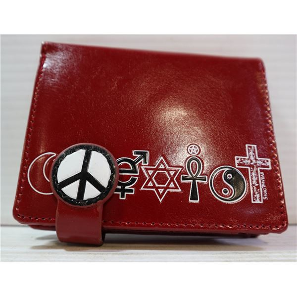 RED POCKET SIZE RELIGIOUS SYMBOL WALLET.