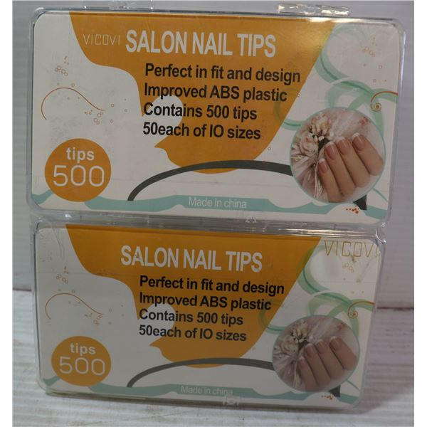 LOT OF TWO 500 PIECE SALON NAIL TIPS