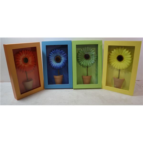 DECORATIVE FLOWER SHADOW BOXES- SET OF 4