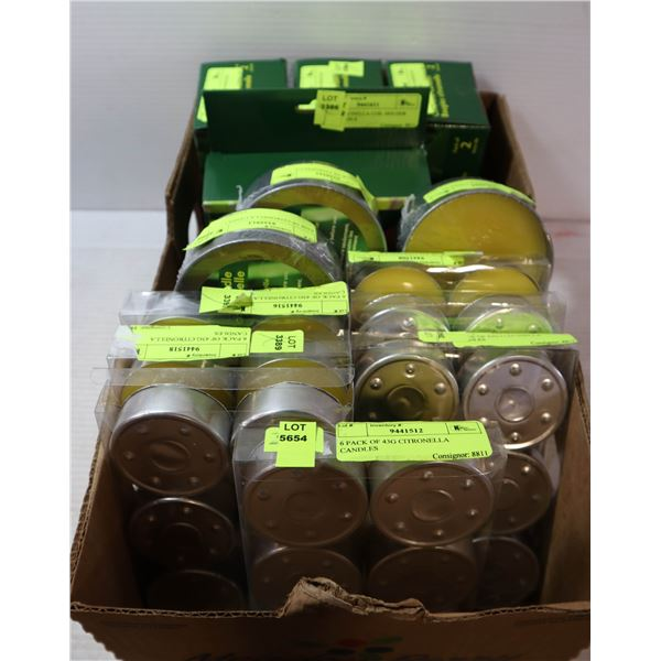LARGE LOT OF CITRONELLA CANDLES.