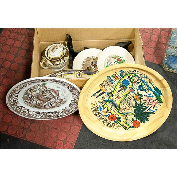 BOX WITH COLLECTIBLE PLATES AND DISHES