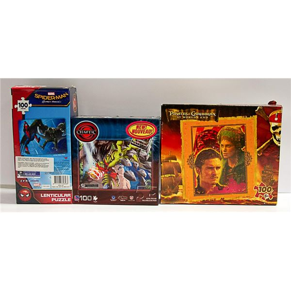 3 PUZZLES INCLUDING SPIDER-MAN AND PIRATES OF THE